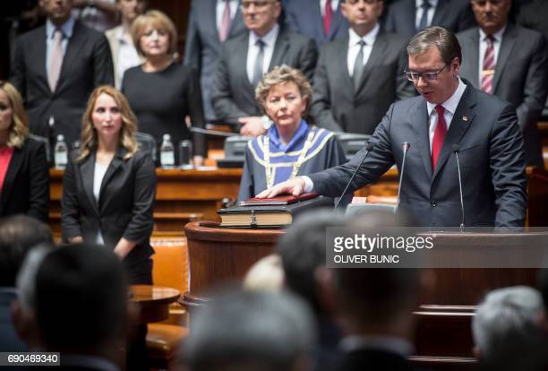 Serbia's Presidentelect Aleksandar Vucic takes oath during the inauguration ceremony of office in Belgrade on May 31 2017 Serbia's Presidentelect...