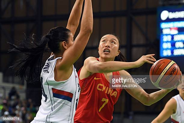 Serbia's shooting guard Ana Dabovic defends against China's small forward Shao Ting during a Women's round Group B basketball match between Serbia...