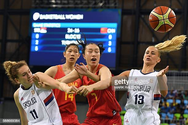 Serbia's small forward Aleksandra Crvendakic China's centre Huang Hongpin China's small forward Shao Ting and Serbia's point guard Milica Dabovic go...