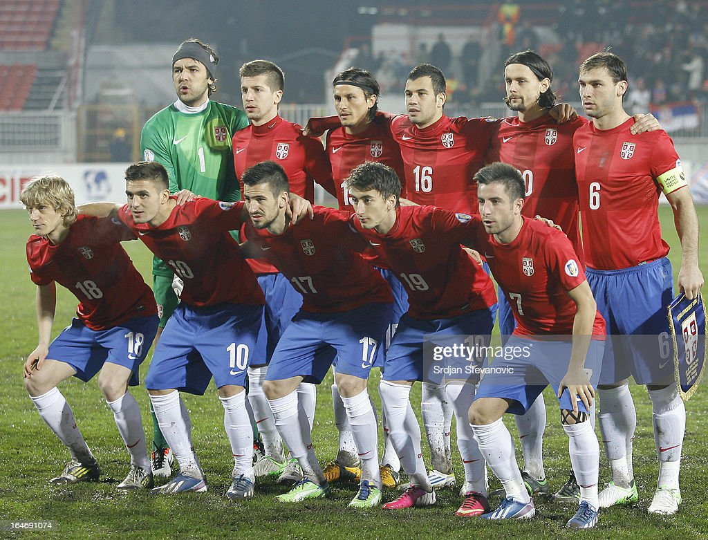 Serbia's team line up prior to the FIFA 2014 World Cup Qualifier between Serbia and Scotland at Karadjordje Stadium on March 26, 2013 in Novi Sad, Serbia.
