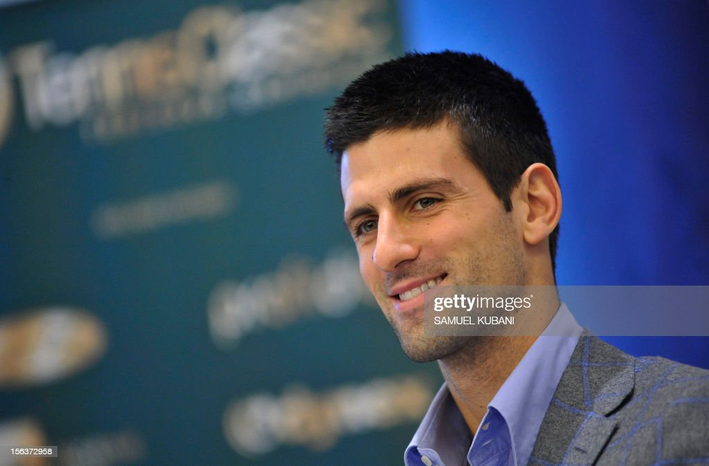 Serbia's tennis player Novak Djokovic attends a press conference on November 14, 2012 in Bratislava. Djokovic with his coach Marian Vajda will play against Slovak players Martin Klizan and Dominik Hrbaty at Tennis Classic exhibition match in Bratislava.
