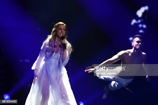 Serbia's Tijana Bogicevic performs the song 'In Too Deep' during the second semifinal dress rehearsal of Eurovision Song Contest 2017 at the...