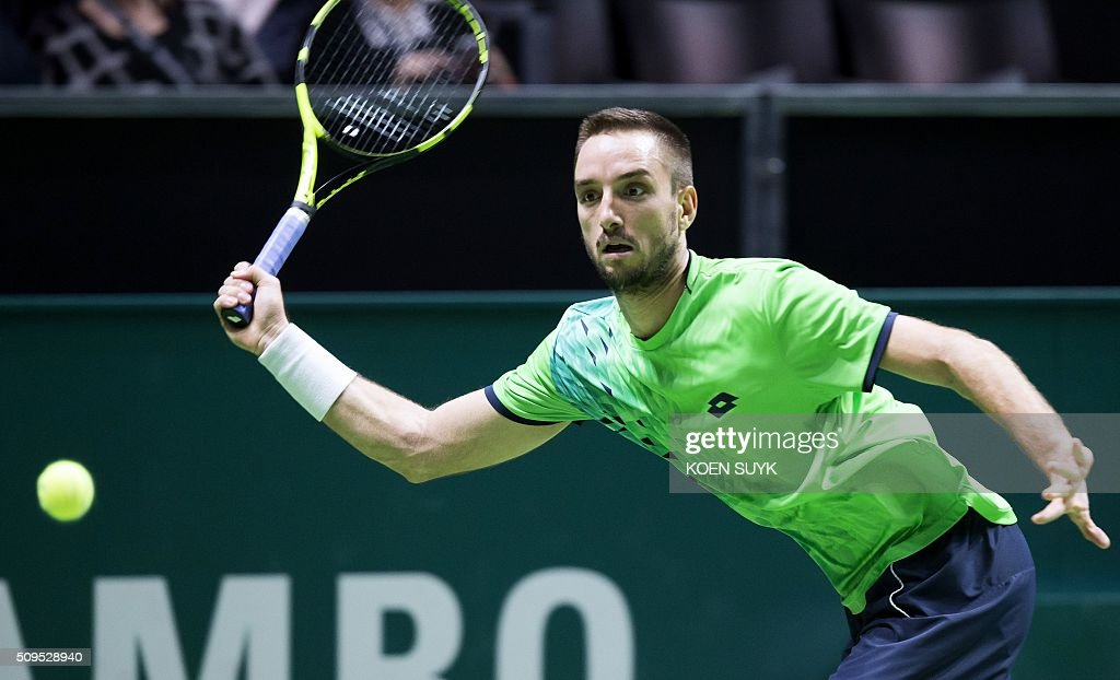 Serbia's Viktor Troicki returns the ball to South Korea's Hyeon Chung during their second round match of the ABN AMRO World Tennis Tournament in Rotterdam, Netherlands, on February 11, 2016. / AFP / ANP / Koen Suyk / Netherlands OUT