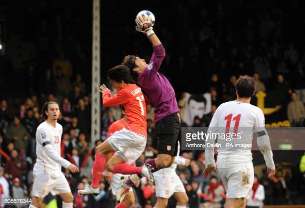 Serbia's Vladimir Stojkovic makes a save during the International Friendly at Craven Cottage London