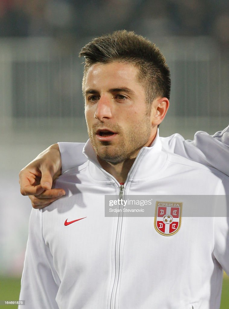 Serbia's Zoran Tosic sings national anthem before the FIFA 2014 World Cup Qualifier match between Serbia and Scotland at Karadjordje Stadium on March 26, 2013 in Novi Sad, Serbia