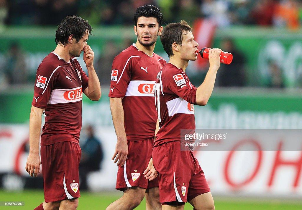 Serdar Tasci and Christian Traesch and Stefano Celozzi of Stuttgart are seen after the Bundesliga match between VfL Wolfsburg and VfB Stuttgart at...
