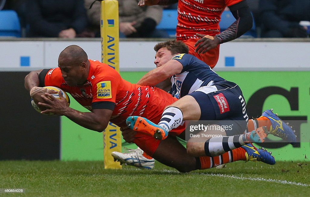Seremaia Bai of Leicester Tigers crosses the line to score his side's first try during the Aviva Premiership match between Sale Sharks and Leicester Tigers at AJ Bell Stadium on December 27, 2014 in Salford, England.