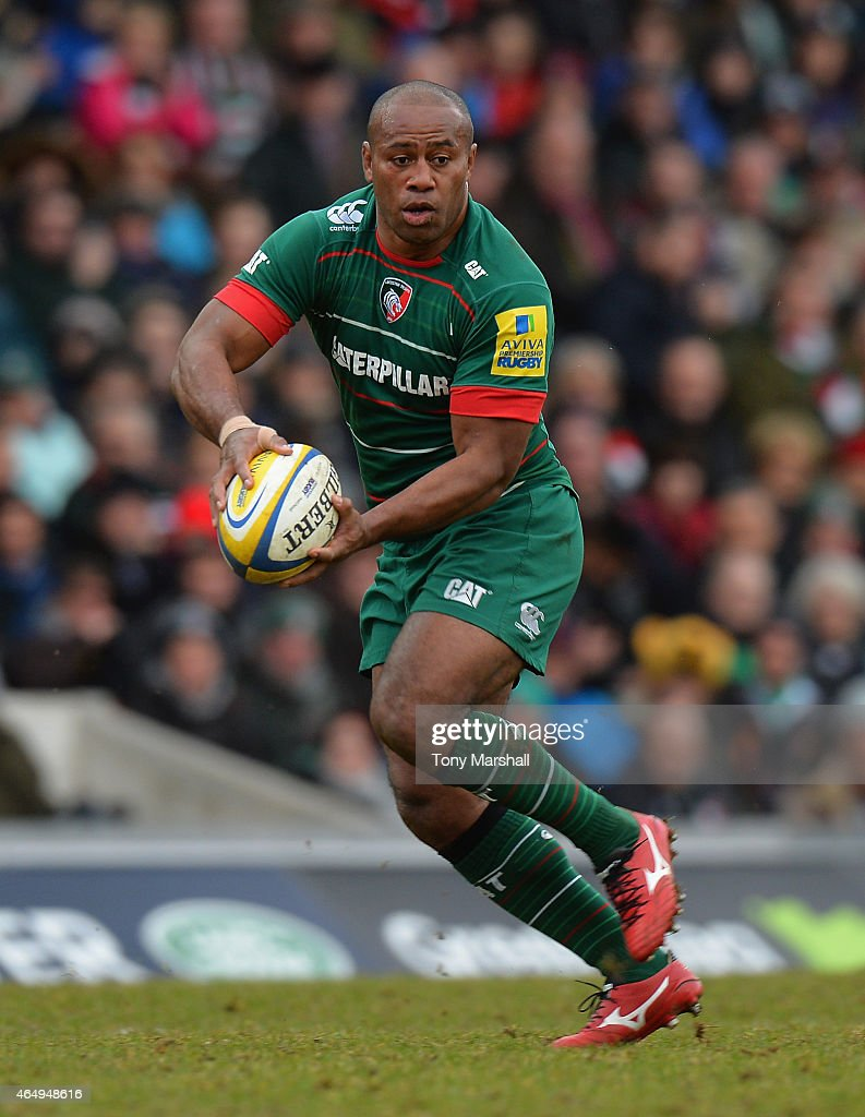 Seremaia Bai of Leicester Tigers during the Aviva Premiership match between Leicester Tigers and Sale Sharks at Welford Road on February 28, 2015 in Leicester, England.