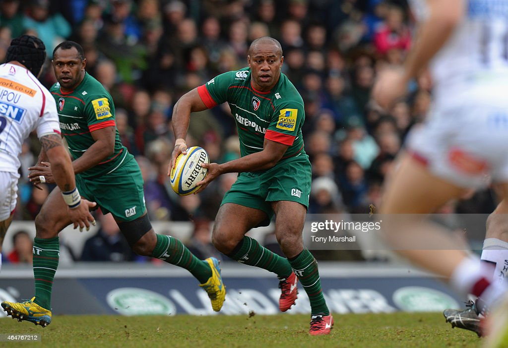 Seremaia Bai of Leicester Tigers looks to offload the ball during the Aviva Premiership match between Leicester Tigers and Sale Sharks at Welford Road on February 28, 2015 in Leicester, England.