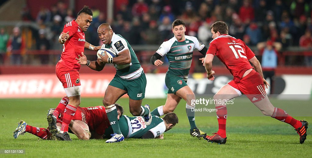 Seremaia Bai of Leicestser charges upfield during the European Rugby Champions Cup match between Munster and Leicester Tigers at Thomond Park on December 12, 2015 in Limerick, Ireland.