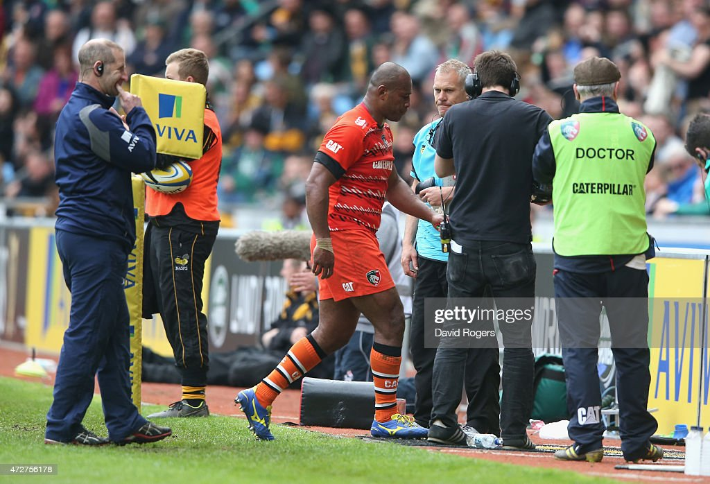 Seremaia Bai of Leicestser is sent off during the Aviva Premiership match between Wasps and Leicester Tigers at The Ricoh Arena on May 9, 2015 in Coventry, England.