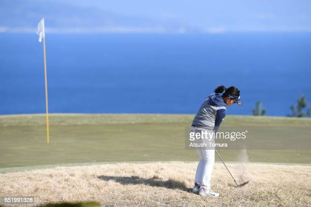 Serena Aoki of Japan chips onto the 16th green during the second round of the Yokohama Tire PRGR Ladies Cup at the Tosa Country Club on March 11...