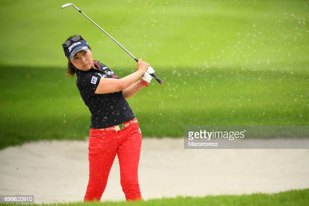 Serena Aoki of Japan chips onto the green during the first round of the Earth Mondamin Cup at the Camellia Hills Country Club on June 22 2017 in...