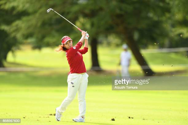 Serena Aoki of Japan hits her second shot on the 1st hole during the second round of Stanley Ladies Golf Tournament at the Tomei Country Club on...