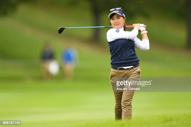 Serena Aoki of Japan hits her second shot on the 8th hole during the first round of Stanley Ladies Golf Tournament at the Tomei Country Club on...