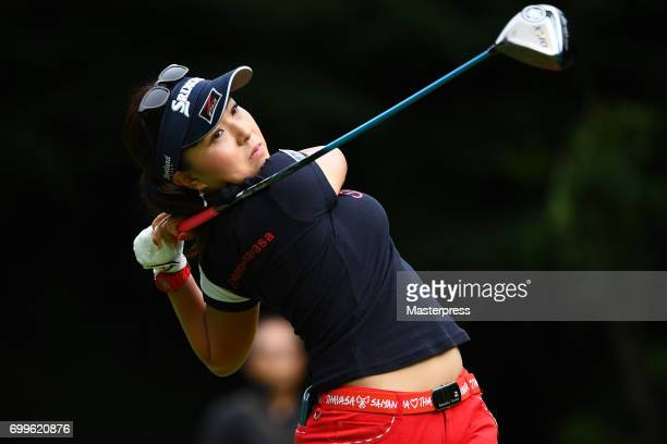 Serena Aoki of Japan hits her tee shot on the 11th hole during the first round of the Earth Mondamin Cup at the Camellia Hills Country Club on June...