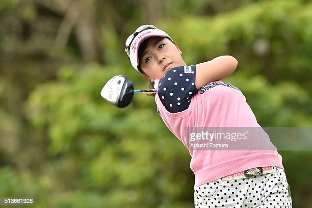 Serena Aoki of Japan hits her tee shot on the 12th hole during the second round of the Daikin Orchid Ladies Golf Tournament at the Ryukyu Golf Club...