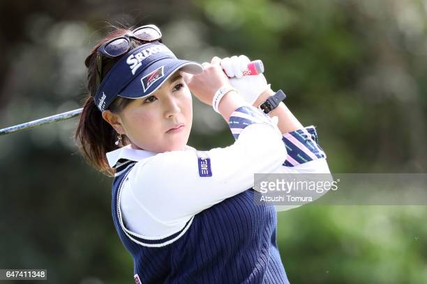Serena Aoki of Japan hits her tee shot on the 18th hole during the second round of the Daikin Orchid Ladies Golf Tournament at the Ryukyu Golf Club...