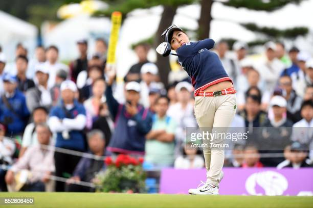 Serena Aoki of Japan hits her tee shot on the 1st hole during the final round of the Miyagi TV Cup Dunlop Ladies Open 2017 at the Rifu Golf Club on...
