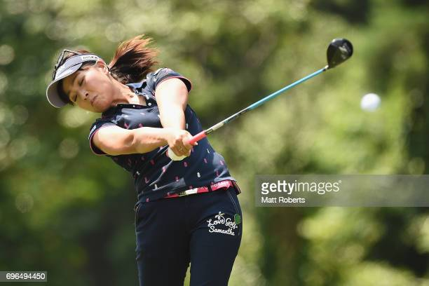 Serena Aoki of Japan hits her tee shot on the 2nd hole during the first round of the Nichirei Ladies at the Sodegaura Country Club Shinsode Course on...