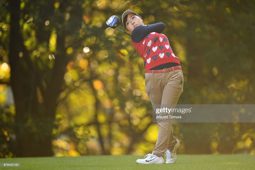 Serena Aoki of Japan hits her tee shot on the 2nd hole during the final round of the TOTO Japan Classics 2017 at the Taiheiyo Club Minori Course on November 5, 2017 in Omitama, Ibaraki, Japan.