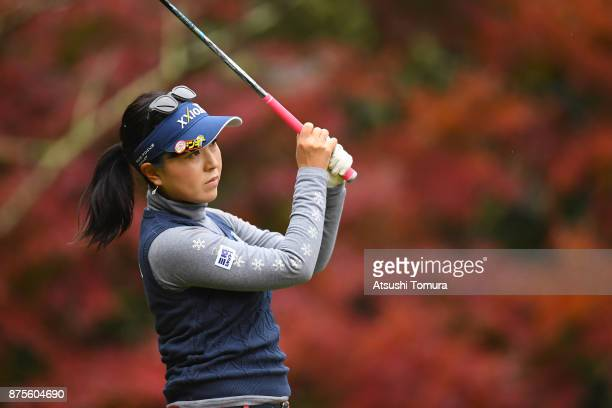 Serena Aoki of Japan hits her tee shot on the 2nd hole during the third round of the Daio Paper Elleair Ladies Open 2017 at the Elleair Golf Club on...