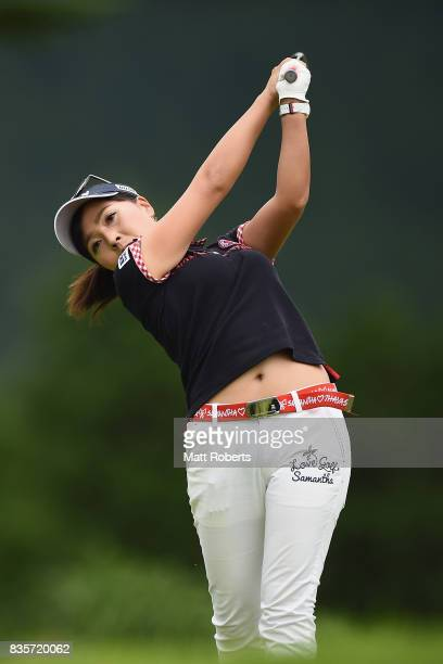 Serena Aoki of Japan hits her tee shot on the 3rd hole during the final round of the CAT Ladies Golf Tournament HAKONE JAPAN 2017 at the Daihakone...