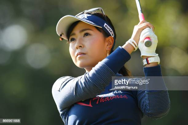 Serena Aoki of Japan hits her tee shot on the 3rd hole during the first round of the Higuchi Hisako Ponta Ladies at the Musashigaoka Golf Course on...