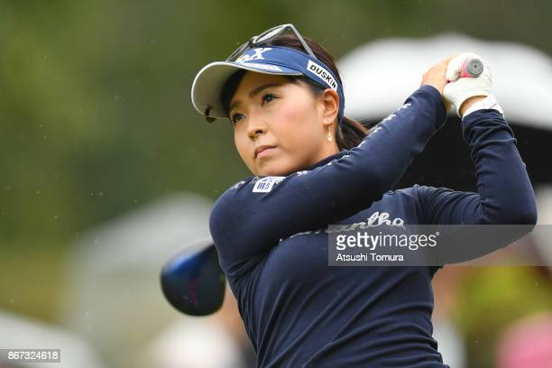 Serena Aoki of Japan hits her tee shot on the 3rd hole during the second round of the Higuchi Hisako Ponta Ladies at the Musashigaoka Golf Course on...