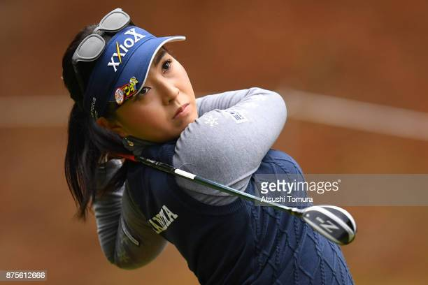 Serena Aoki of Japan hits her tee shot on the 3rd hole during the third round of the Daio Paper Elleair Ladies Open 2017 at the Elleair Golf Club on...