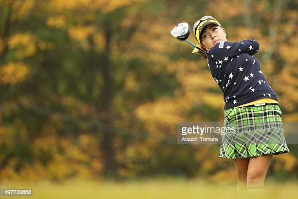 Serena Aoki of Japan hits her tee shot on the 9th hole during the final round of the Itoen Ladies Golf Tournament 2015 at the Great Island Club on...