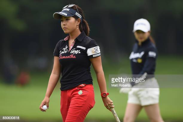 Serena Aoki of Japan looks dejected after her putt on the 18th green during the second round of the NEC Karuizawa 72 Golf Tournament 2017 at the...