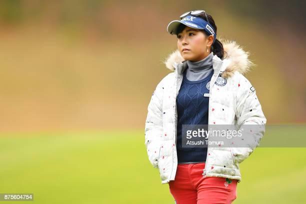 Serena Aoki of Japan looks on during the third round of the Daio Paper Elleair Ladies Open 2017 at the Elleair Golf Club on November 18 2017 in...