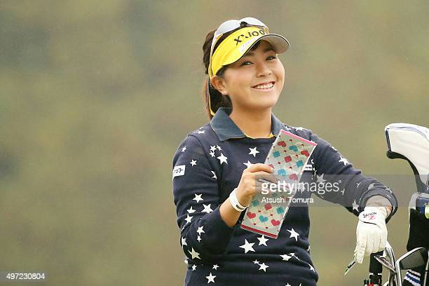 Serena Aoki of Japan smiles during the final round of the Itoen Ladies Golf Tournament 2015 at the Great Island Club on November 15 2015 in Chonan...
