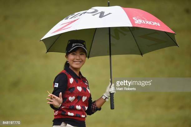 Serena Aoki of Japan smiles during the final round of the Munsingwear Ladies Tokai Classic 2017 at the Shin Minami Aichi Country Club Mihama Course...