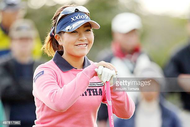 Serena Aoki of Japan smiles during the first round of the Daio Paper Elleair Ladies Open 2015 at the Itsuurateien Country Club on November 19 2015 in...