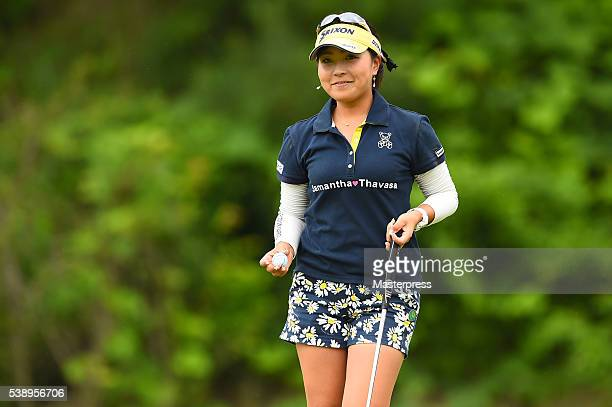 Serena Aoki of Japan smiles during the first round of the Suntory Ladies Open at the Rokko Kokusai Golf Club on June 9 2016 in Kobe Japan
