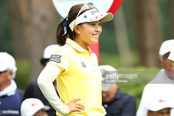Serena Aoki of Japan smiles during the second round of the Daito Kentaku Eheyanet Ladies 2015 at the Narusawa Golf Club on August 1 2015 in Narusawa...