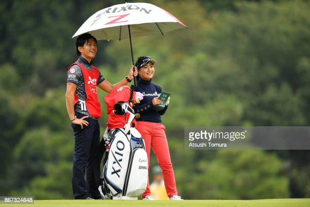 Serena Aoki of Japan smiles during the second round of the Higuchi Hisako Ponta Ladies at the Musashigaoka Golf Course on October 28 2017 in Hanno...