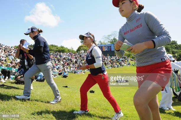 Serena Aoki of Japan walks off the 18th green during the final round of the Yonex Ladies Golf Tournament 2016 at the Yonex Country Club on June 4...