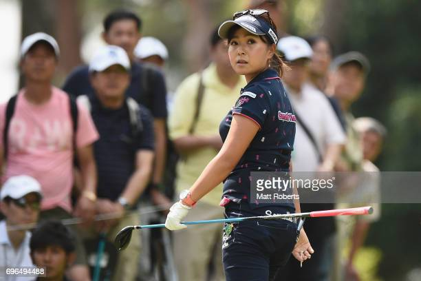 Serena Aoki of Japan watches her tee shot on the 2nd hole during the first round of the Nichirei Ladies at the Sodegaura Country Club Shinsode Course...