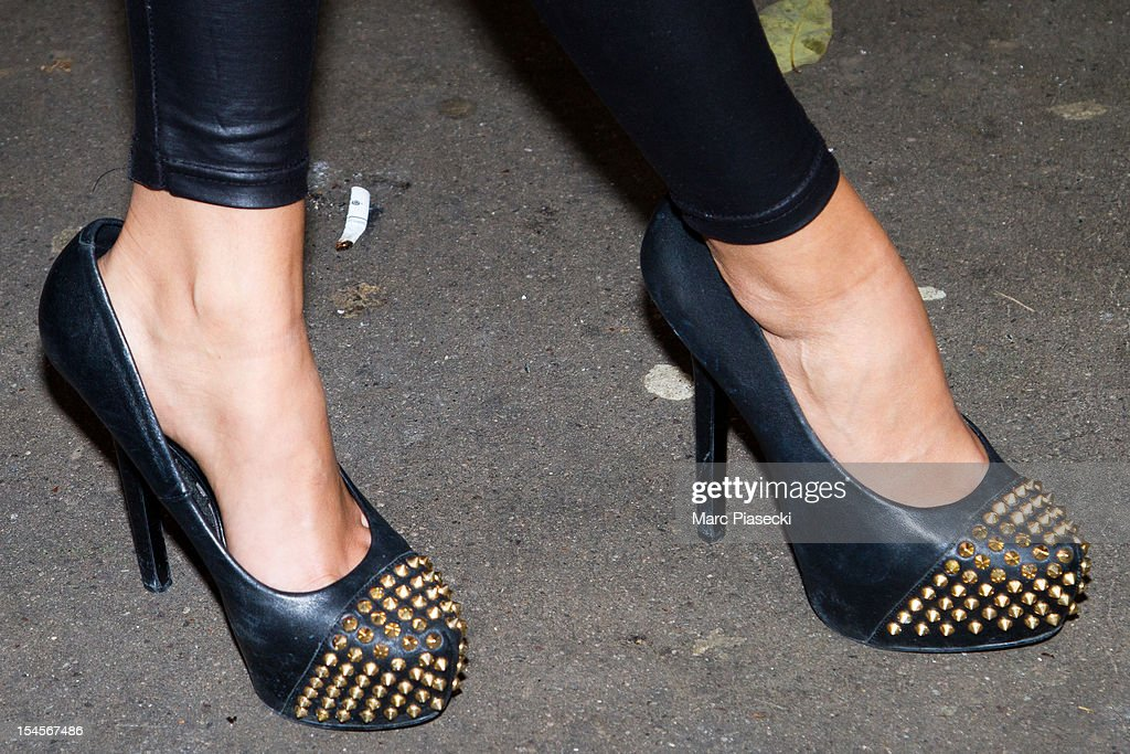 Serena Fae (shoe detail), candidate of the 'Les ch'tis a Mykonos' tv-season, is seen at the SFP TV studio on October 22, 2012 in Paris, France.