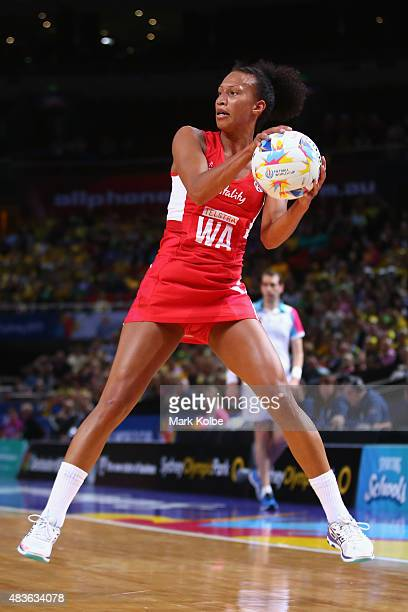 Serena Guthrie of England catches the ball during the 2015 Netball World Cup Qualification round match between Australia and England at Allphones...