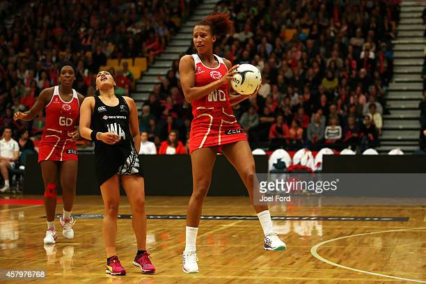 Serena Guthrie of England catches the ball during the International netball Test match between the New Zealand Silver Ferns and England on October 28...