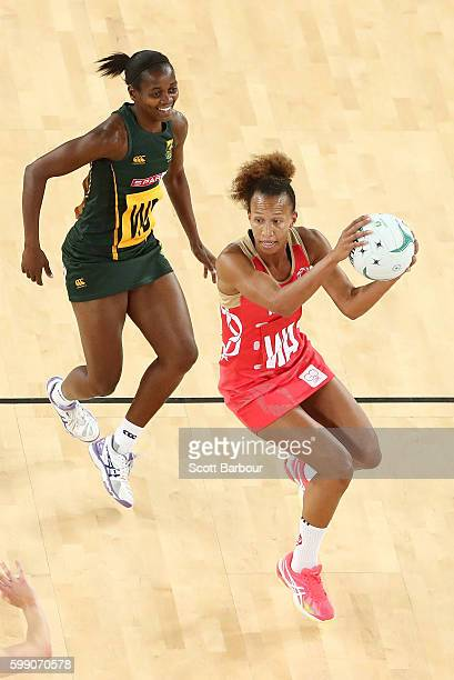 Serena Guthrie of England competes for the ball during the International Test match between the South Africa Spar Proteas and England Roses at...