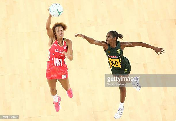 Serena Guthrie of England competes for the ball with Precious Mthembu of South Africa during the International Test match between the South Africa...