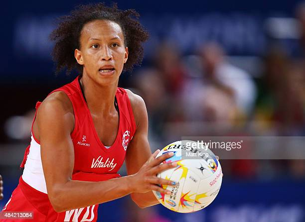 Serena Guthrie of England looks for support the 2015 Netball World Cup Bronze Medal match between England and Jamaica at Allphones Arena on August 16...