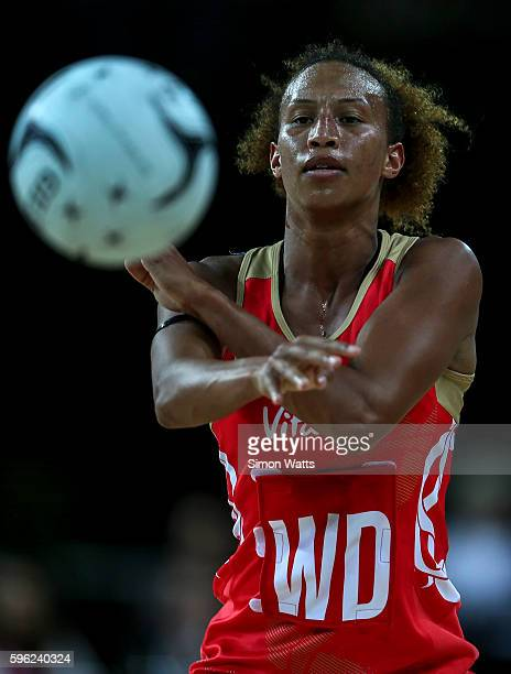 Serena Guthrie of England passes during the International Test Match between New Zealand and England on August 27 2016 at Vector Arena Auckland New...