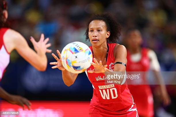 Serena Guthrie of England passes the ball during the 2015 Netball World Cup match between England and Jamaica at Allphones Arena on August 8 2015 in...