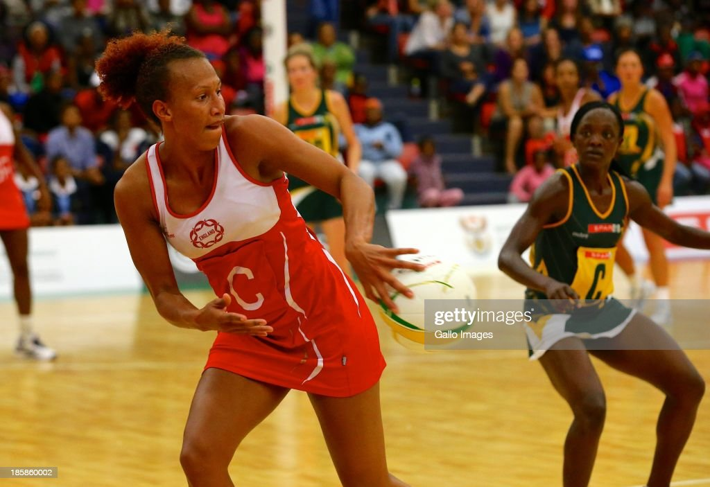 Serena Guthrie of England with a backhand pass during the International SPAR Tri Nations netball final match between South Africa and England at Vodacom NMMU Indoor Stadium on October 25, 2013 in Port Elizabeth, South Africa.